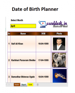 Date of Birth Planner With Image